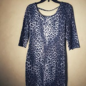 Kirra 3/4 Sleeve Gray Animal Print Bodycon Dress